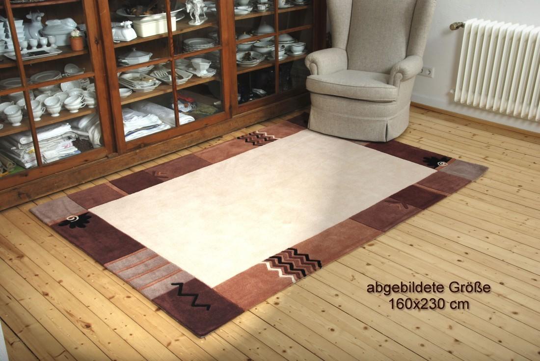 bordueren teppich warmes beige und braun floral elegante musterung in 65x130cm. Black Bedroom Furniture Sets. Home Design Ideas