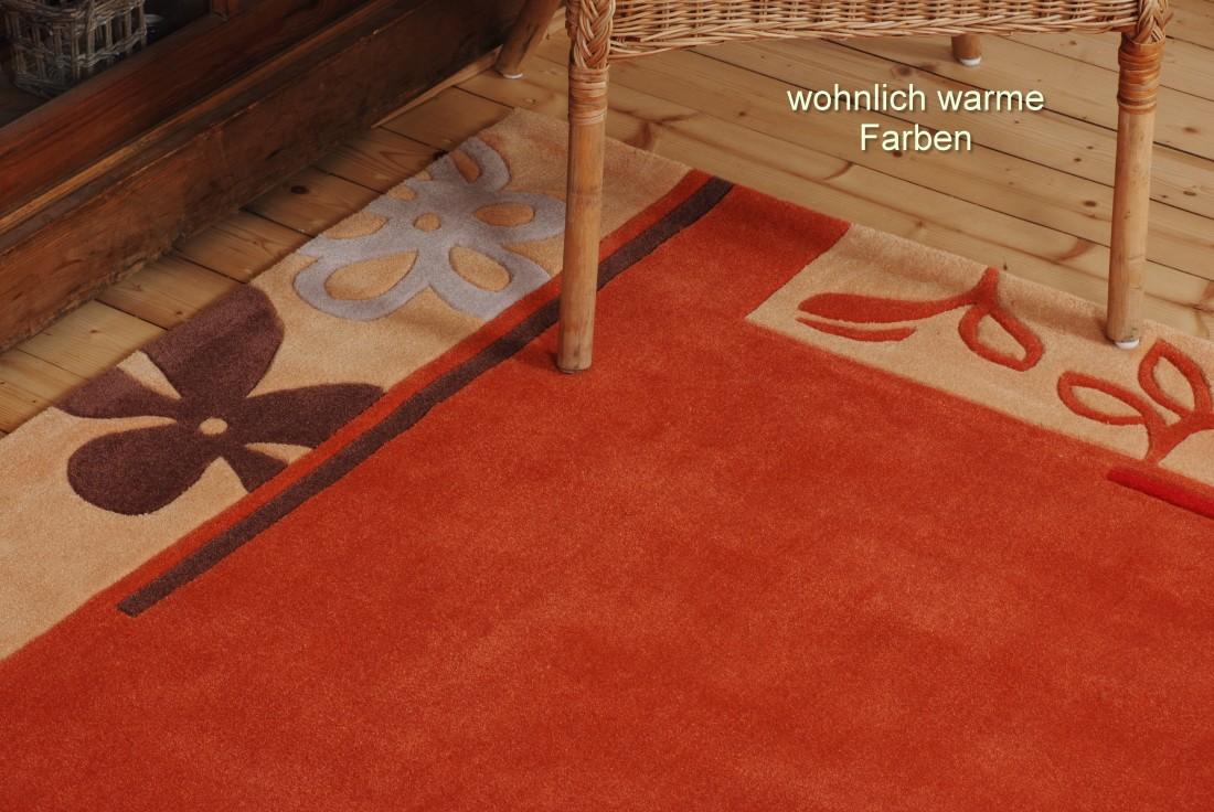 Bordueren Teppich handgearbeitet Farbe terracotta beige